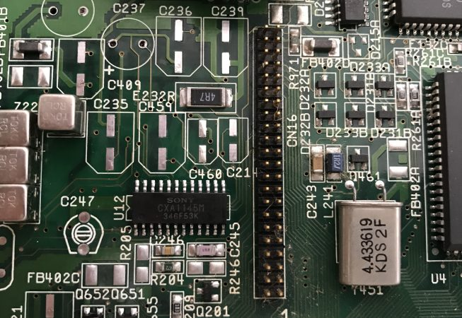 Amiga 1200 Mainboard before recapping